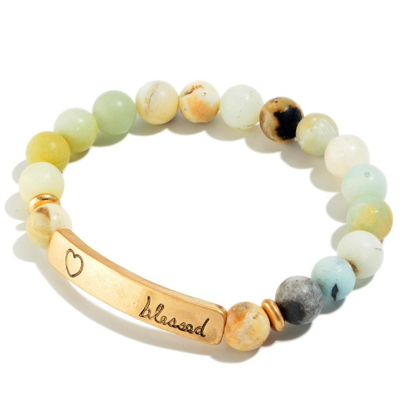"Natural Stone Beaded ""Blessed"" Stretch Bracelet.  - Focal 1.5""  - Bead Size: 7mm - Approximately 3"" in Diameter"