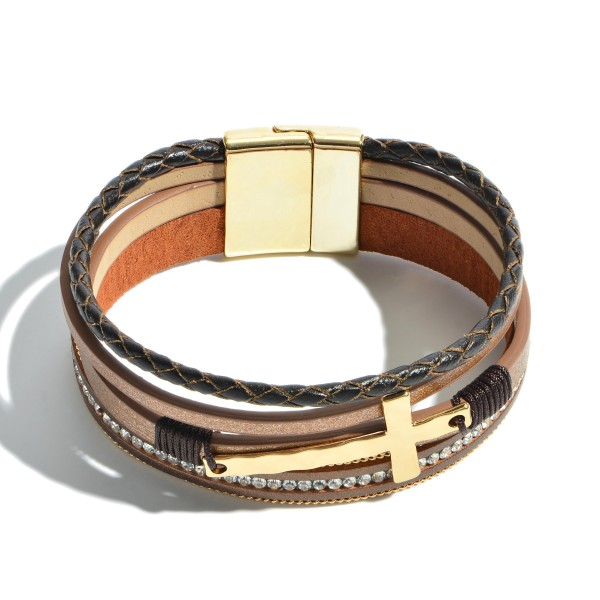 "Faux Leather Braided Cross Magnetic Bracelet.  - Magnetic Clasp Closure - Focal 1.5""  - Approximately 3"" in Diameter"