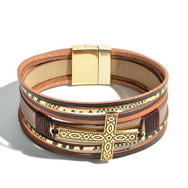 "Faux Leather Magnetic Bracelet Featuring an Antique Thread Wrapped Cross Focal.  - Magnetic Clasp Closure - Focal 1.5""  - Approximately 3"" in Diameter"