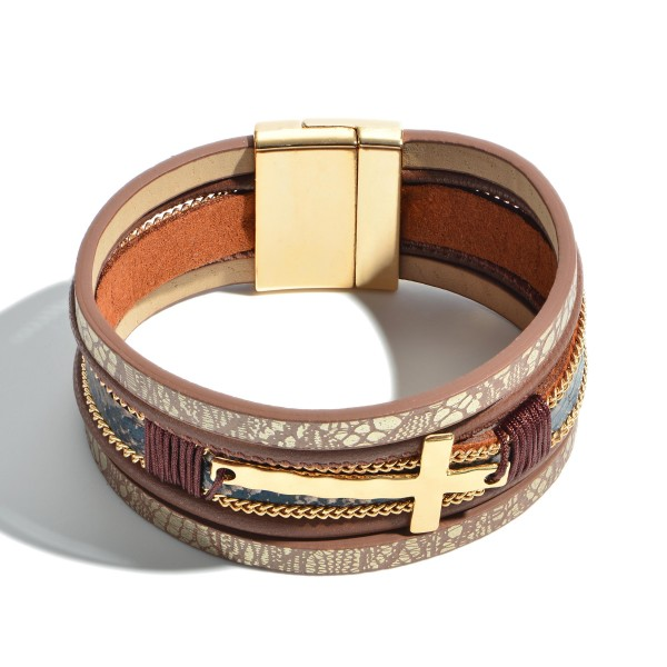 "Faux Leather Snakeskin Cross Magnetic Bracelet.  - Magnetic Clasp Closure - Cross Focal 1.5""  - Approximately 3"" in Diameter"