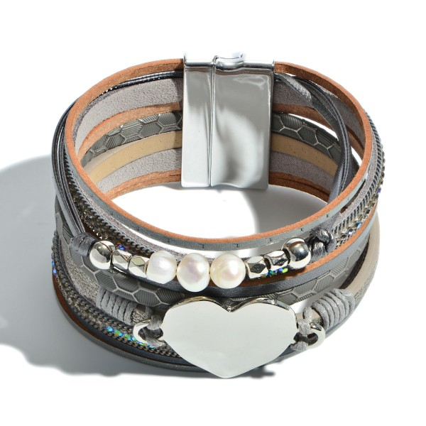 "Faux Leather Heart Magnetic Bracelet Featuring Pearl Accents.  - Focal 1'  - Approximately 3"" in Diameter - Magnetic Clasp Closure"
