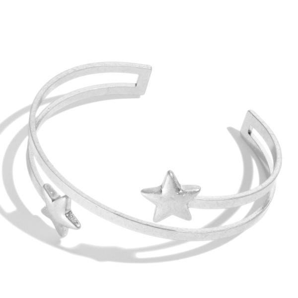"""Open End Metal Star Cuff Bracelet.  - Approximately 2.5"""" in Diameter"""