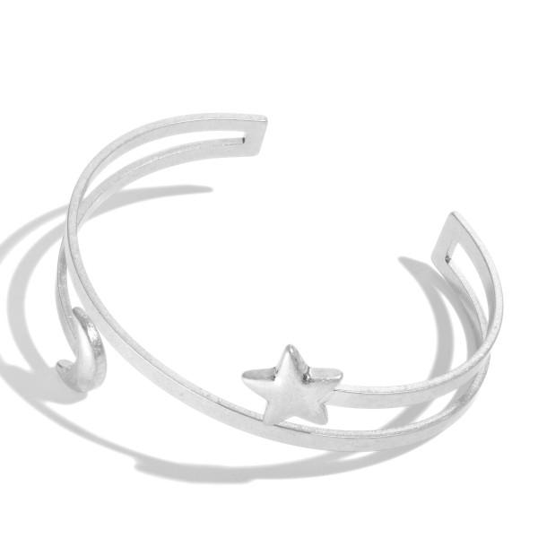 "Open Ended Moon & Star Metal Cuff Bracelet.  - Approximately 2.5"" in Diameter"
