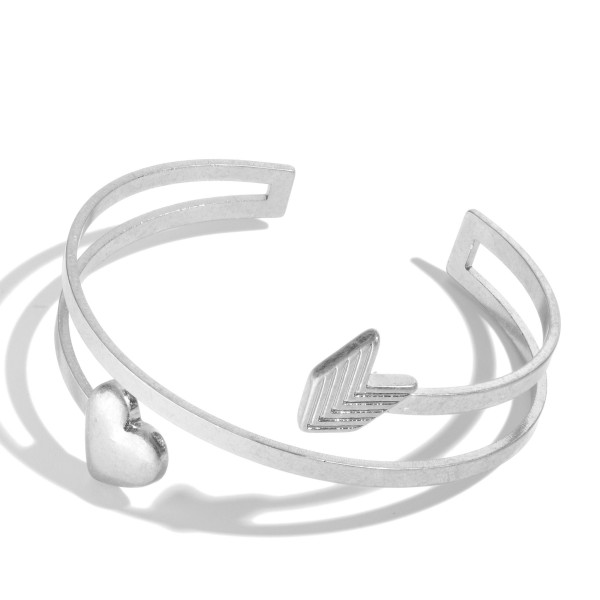 "Open Ended Metal Heart & Arrow Cuff Bracelet.  - Approximately 2.5"" in Diameter"