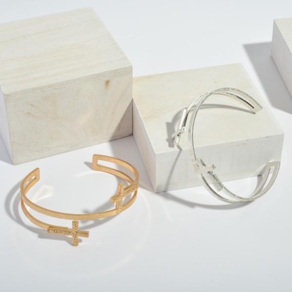 """Open Ended Metal Cross Cuff Bracelet.  - Approximately 2.5"""" in Diameter"""