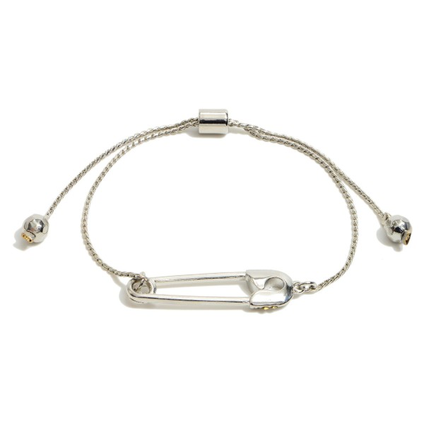 """Rhinestone Safety Pin Bolo bracelet.  - Focal 1.5""""  - Approximately 3"""" in Diameter - Adjustable Bolo Clasp"""