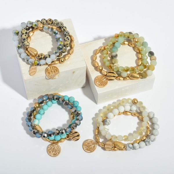 "Semi Precious Beaded Designer Inspired Charm Stretch Bracelet Set.  - Charm .75""  - 3 PC Per Set - Approximately 3"" in Diameter"