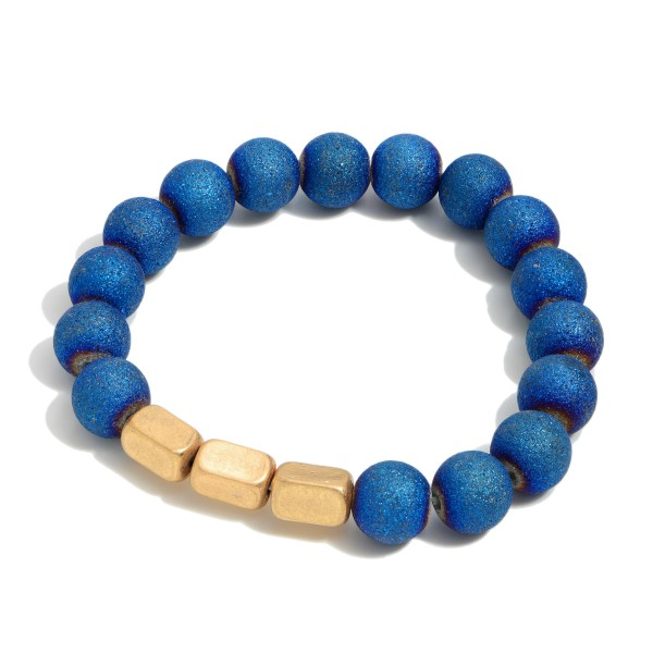 """Acrylic Shimmer Beaded Stretch Bracelet Featuring Metal Tone Beads.  - Bead Size: 9mm - Approximately 3"""" in Diameter"""