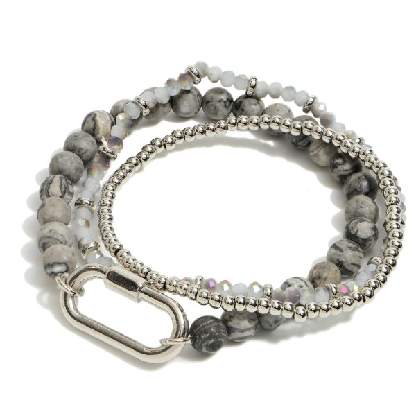 "3 PC Semi Precious Beaded Carabiner Stretch Bracelet Set.  - 3 PC Per Set - Approximately 3"" in Diameter"