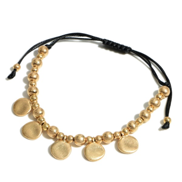 """Disc Charm Beaded Bolo Bracelet in Gold.  - Approximately 3"""" in Diameter - Adjustable Bolo Closure"""