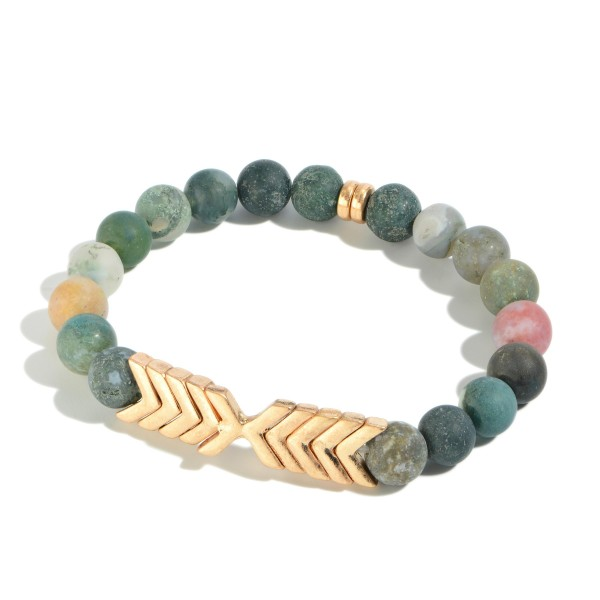 "Semi Precious Beaded Arrow Stretch Bracelet.  - Approximately 3"" in Diameter"