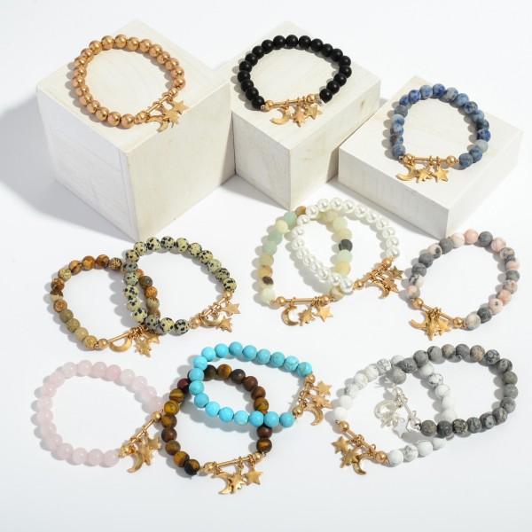 """Beaded Boho Charm Bar Stretch Bracelet.  - Charms Include: Star, Moon & North Star - Charms approximately .5"""" in Size - Approximately 3"""" in Diameter"""