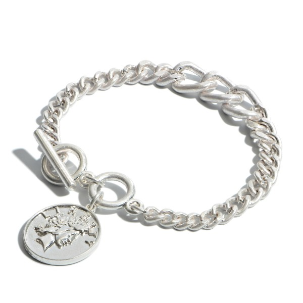 "Chain Link Coin Charm Bracelet.  - Charm .75""  - Toggle Bar Clasp Closure - Approximately 3"" in Diameter"