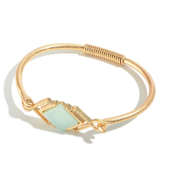 "Springy Semi Precious Bangle Bracelet in Gold.  - Front Focal Closure - Approximately 2.5"" in Diameter"