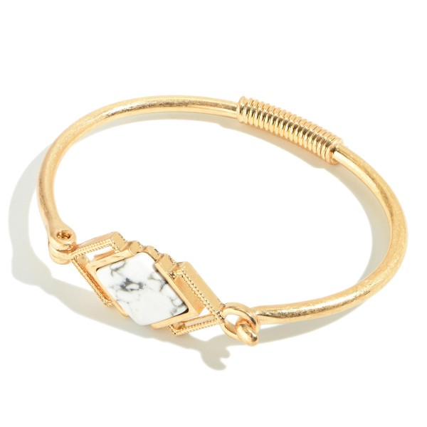 """Springy Semi Precious Bangle Bracelet in Gold.  - Front Focal Closure - Approximately 2.5"""" in Diameter"""
