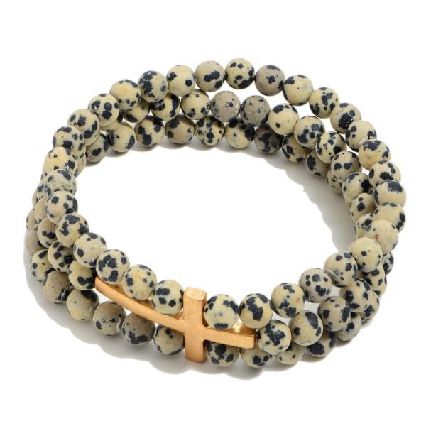 "3 in 1 Semi Precious Beaded Cross Stretch Bracelet.  - Cross Focal 1.5""  - Approximately 3"" in Diameter"