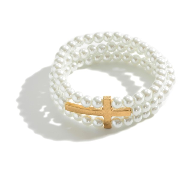 "3 in 1 Semi Precious Beaded Cross Stretch Bracelet.  - Cross Focal 1.5""  - Approximately 3"" in Diameter"