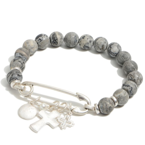 """Natural Stone Beaded Safety Pin Charm Stretch Bracelet.  - Focal approximately 1.5""""  - Approximately 3"""" in Diameter"""