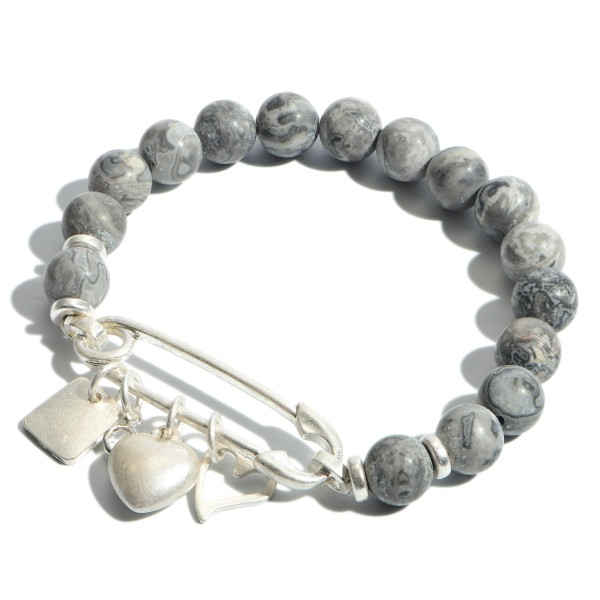 "Semi Precious Beaded Safety Pin Charm Stretch Bracelet.  - Charms Include Hearts - Focal 1.5""  - Approximately 3"" in Diameter"