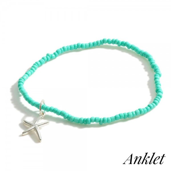 """Beaded Anklet Featuring Starfish Accent.   - Approximately 3.5"""" in Diameter"""