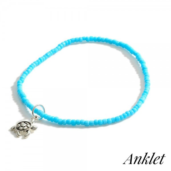 """Beaded Anklet Featuring Sea Turtle Accent.   - Approximately 3.5"""" in Diameter"""