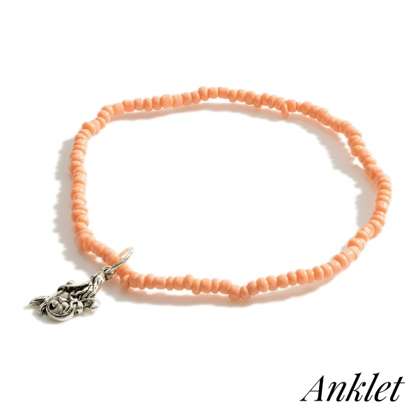 """Beaded Anklet Featuring Mermaid Accent.   - Approximately 3.5"""" in Diameter"""