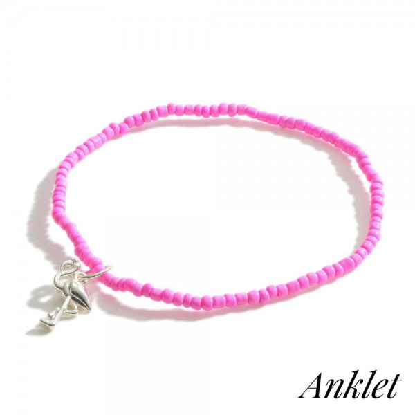 """Beaded Anklet Featuring Flamingo Accent.   - Approximately 3.5"""" in Diameter"""