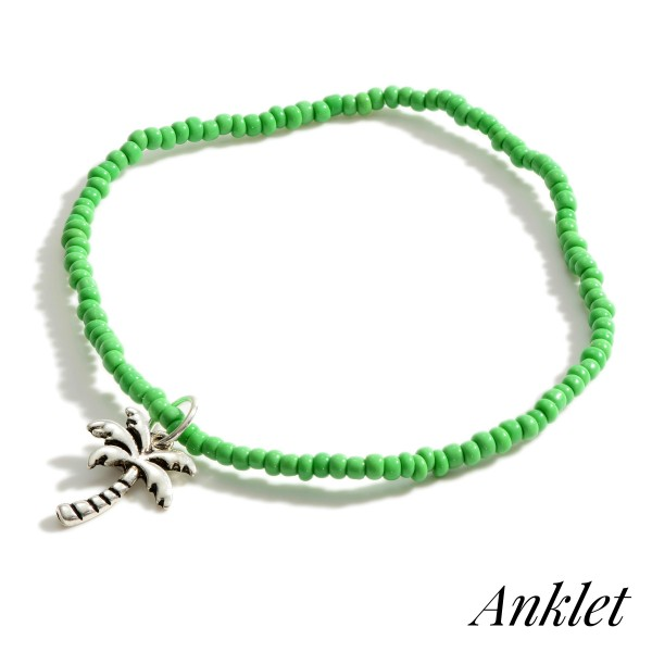 """Beaded Anklet Featuring Palm Tree Accent.   - Approximately 3.5"""" in Diameter"""