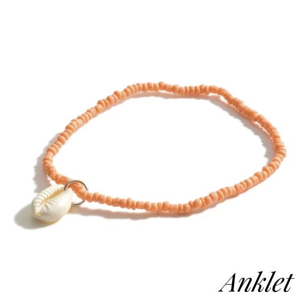 """Beaded Anklet Featuring Puka Shell Accent.   - Approximately 3.5"""" in Diameter"""