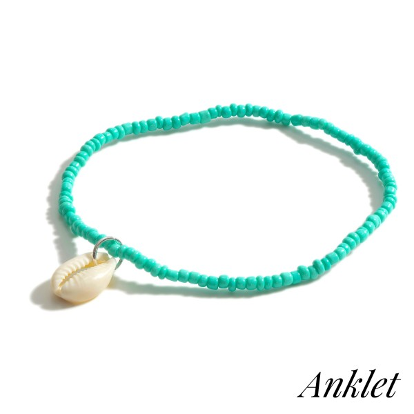 "Beaded Anklet Featuring Puka Shell Accent.   - Approximately 3.5"" in Diameter"