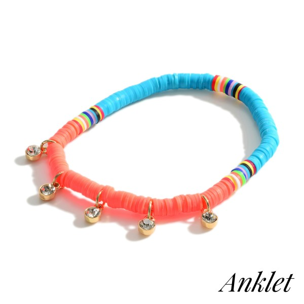 """Beaded Heishi Anklet Featuring Rhinestone Accents and Multicolor Details.   - Approximately 3.5"""" in Diameter"""