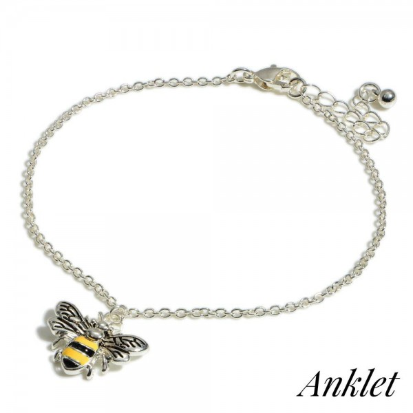 """Designer Inspired Bumblebee Charm Anklet.  - Charm approximately .75"""" - Approximately 4"""" in Diameter - 2"""" Adjustable Extender"""