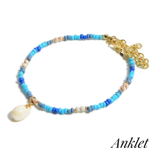 """Blue Beaded Anklet Featuring Seashell Accent.   - Approximately 3.5"""" in Diameter"""