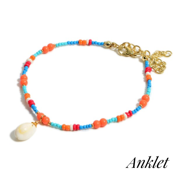 """Multicolor Beaded Anklet Featuring Seashell Accent.   - Approximately 3.5"""" in Diameter"""