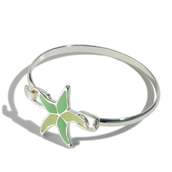 "Epoxy Starfish Bangle Bracelet.  - Focal 1""  - Front Hook Closure - Approximately 3"" in Diameter"