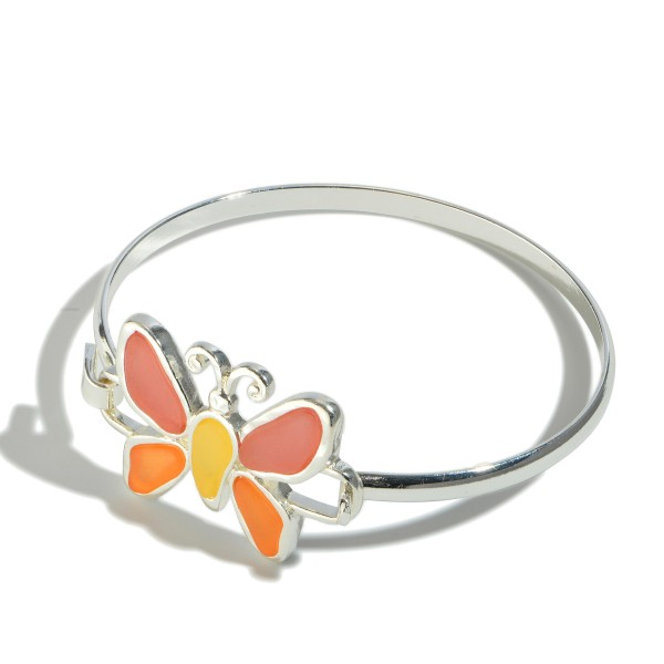 """Epoxy Butterfly Bangle Bracelet.  - Focal 1""""  - Front Hoop Closure - Approximately 3"""" in Diameter"""
