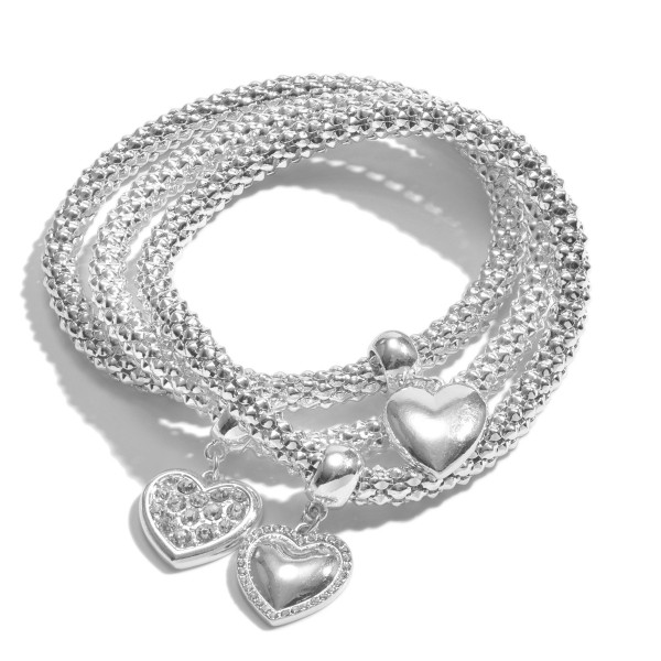 "3 PC Metal Rope Pave Heart Charm Stretch Bracelet Set.  - 3 PC Per Set - Charm's approximately .5"" - Approximately 3"" in Diaemter"