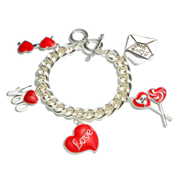 "Curb Chain Valentine Statement Charm Bracelet.  - Charms 1""  - Toggle Bar Clasp - Approximately 3"" in Diameter"