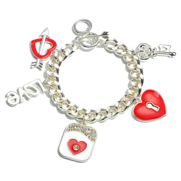 "Curb Chain Valentine Statement Charm Bracelet.  - Toggle Bar Clasp - Charms 1""  - Approximately 3"" in Diameter"
