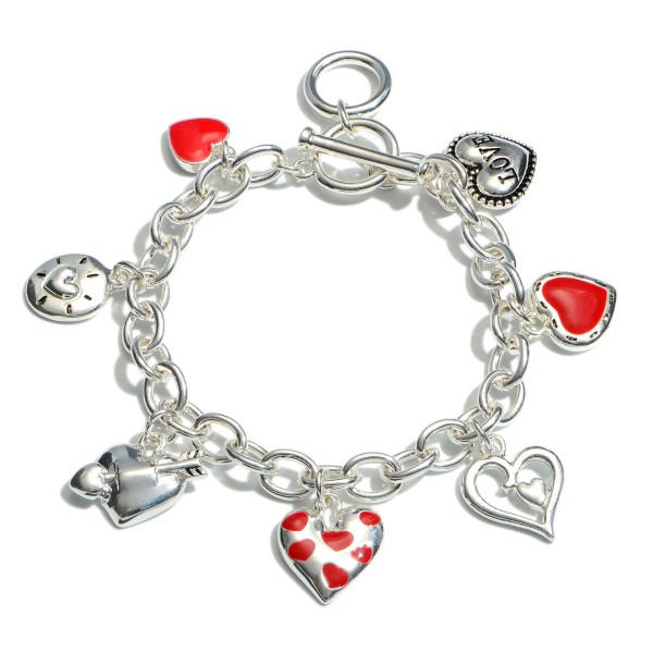 "Valentine Toggle Bar Charm Bracelet.  - Charms .5""  - Approximately 3"" in Diameter"