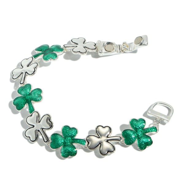 "St. Patricks Clover Magnetic Bracelet.  - Magnetic Clasp Closure - Approximately 3"" in Diameter"