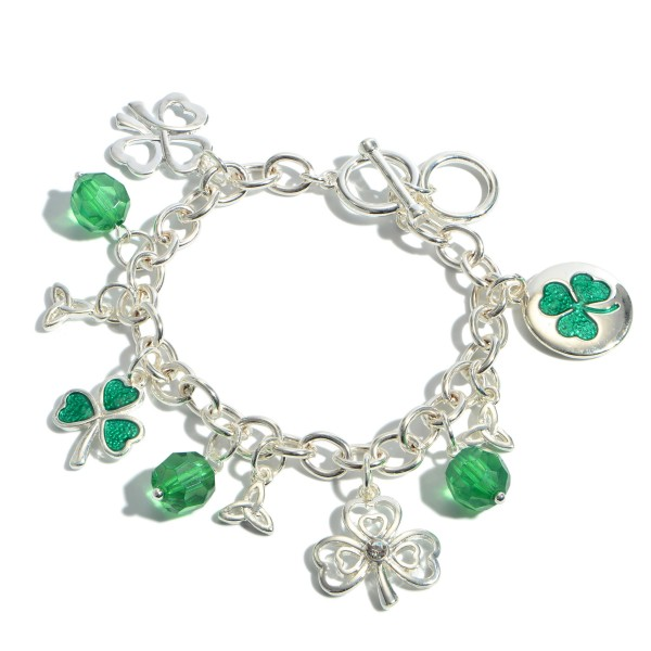 "St. Patricks Toggle Bar Charm Bracelet.  - Toggle Bar Clasp - Charms 8mm - .5""  - Approximately 3"" in Diameter"