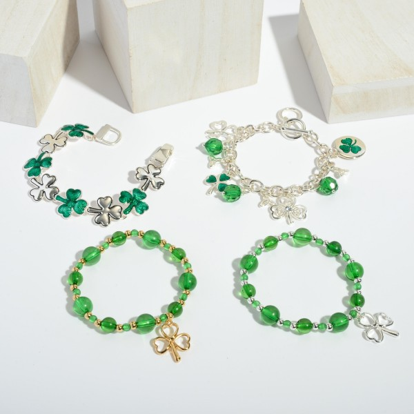 "St. Patricks Beaded Charm Stretch Bracelet.  - Charm .75"" - Approximately 3"" in Diameter"