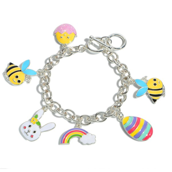 """Epoxy Easter Charm Bracelet.  - Toggle Bar Clasp  - Charms 1""""  - Approximately 3"""" in Diameter"""