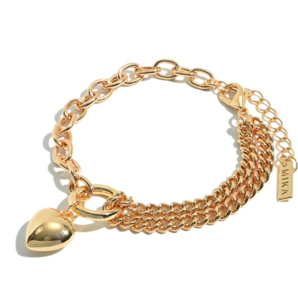 "Chain Link Heart Filled Bracelet in Gold.  - Focal .5""  - Approximately 3"" in Diameter - 2"" Adjustable Extender"