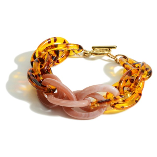 """Chain Link Toggle Bar Tortoise Bracelet featuring Natural Accents.  - Approximately 2.5"""" in Diameter"""