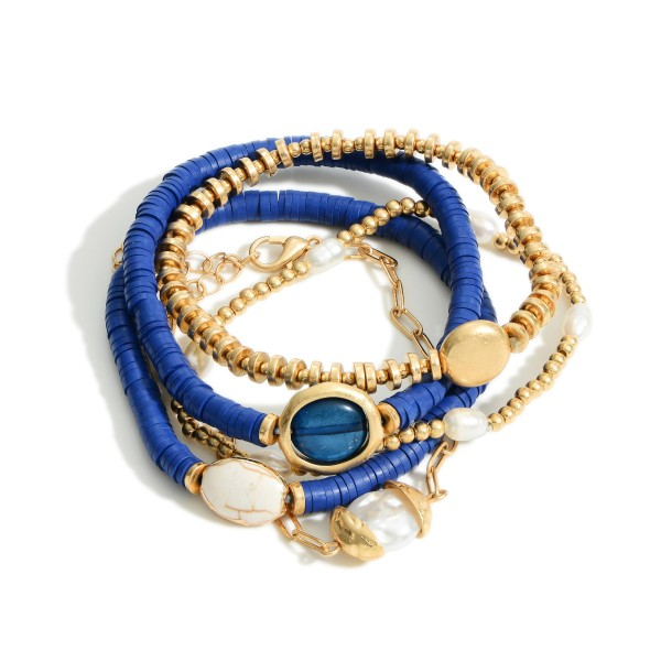 """5 PC Mix Rubber Heishi Beaded Pearl Stretch Bracelet Set.  - 5 PC Per Set - 4 Stretchy Strands; 1 Chain Link Strand - Approximately 3"""" in Diameter - 2"""" Adjustable Extender"""
