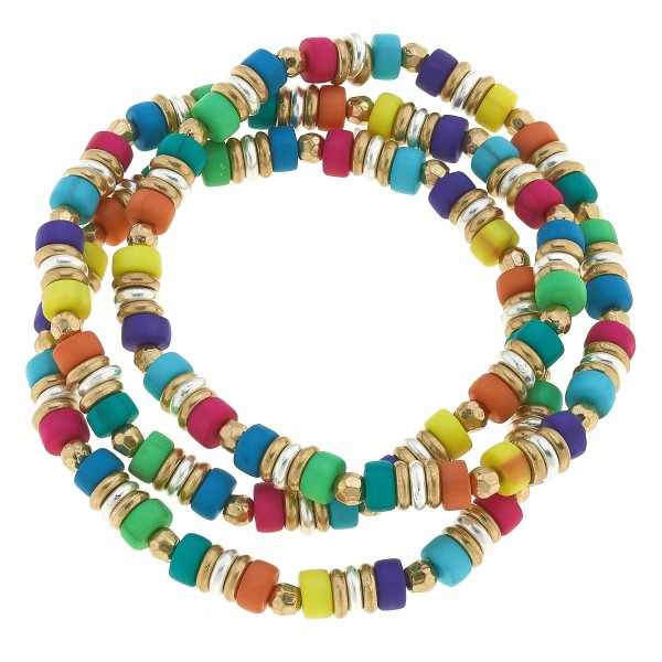 "3 PC Rubber Beaded Stretch Bracelet Set.  - 3 PC Per Set - Approximately 3"" in Diameter"