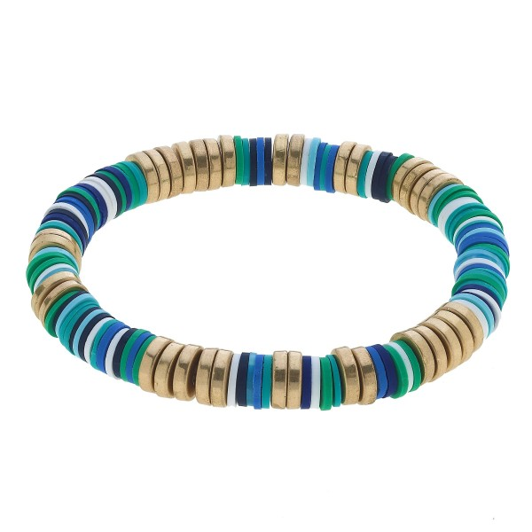 "Multicolor Rubber Beaded Stretch Bracelet.  - Approximately 3"" in Diameter"