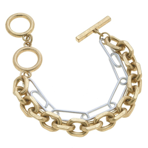 "Two Tone Chain Link Toggle Bar Bracelet.  - Adjustable Toggle Bar Clasp - Approximately 3"" in Diameter"